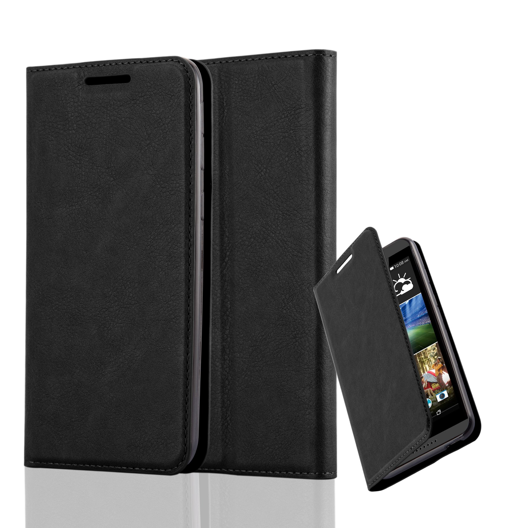 Cadorabo Case works with HTC DESIRE 820 Book Case in NIGHT BLACK (Design INVISIBLE CLOSURE) – with Magnetic Closure, Stand Function and Card Slot – Wallet Case Etui Cover PU Leather by Cadorabo (Image #1)