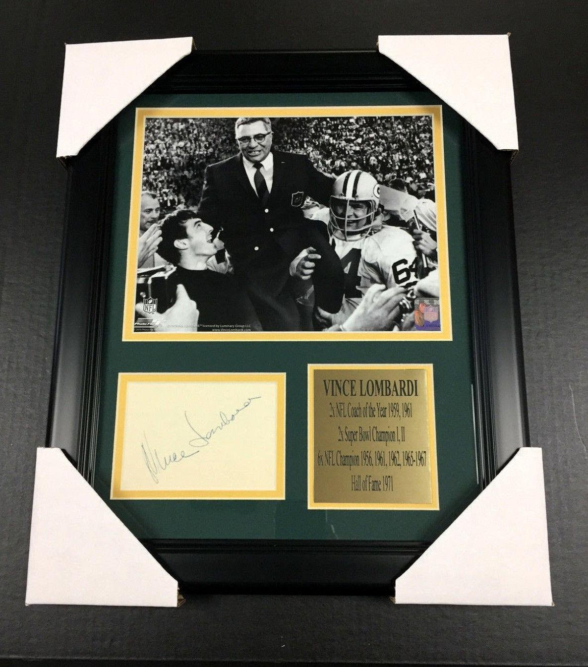 Signed Vince Lombardi Photo Cut Reprint Framed 8x10