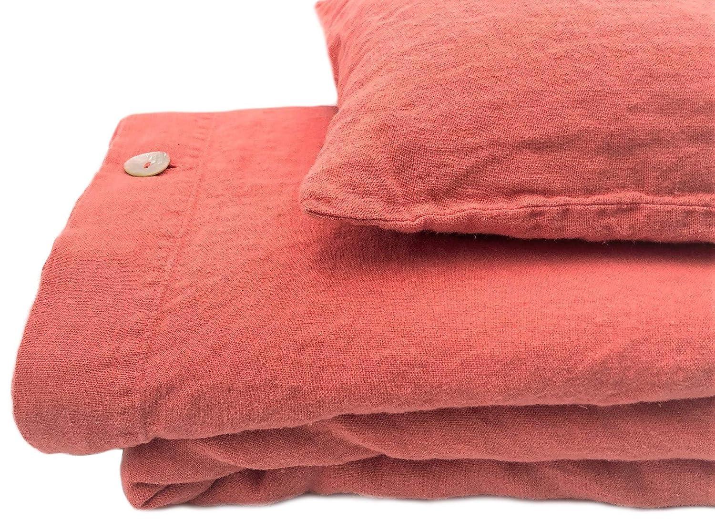 Jowollina Leinen Bettwäsche-Set 100% Natur Leinen Stonewashed - Bettbezug 135x200 cm + Kissenbezug 80x80 cm, Coral Pink