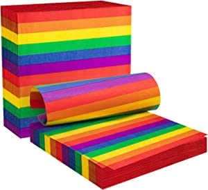 Whaline Rainbow Napkins Disposable Paper Napkins, Cocktail Paper Napkin Beverage Luncheon Napkins 2ply for Gay Pride Day Parade, Gathering Party Decoration of Home Kitchen (6.5 x 6.5inches)