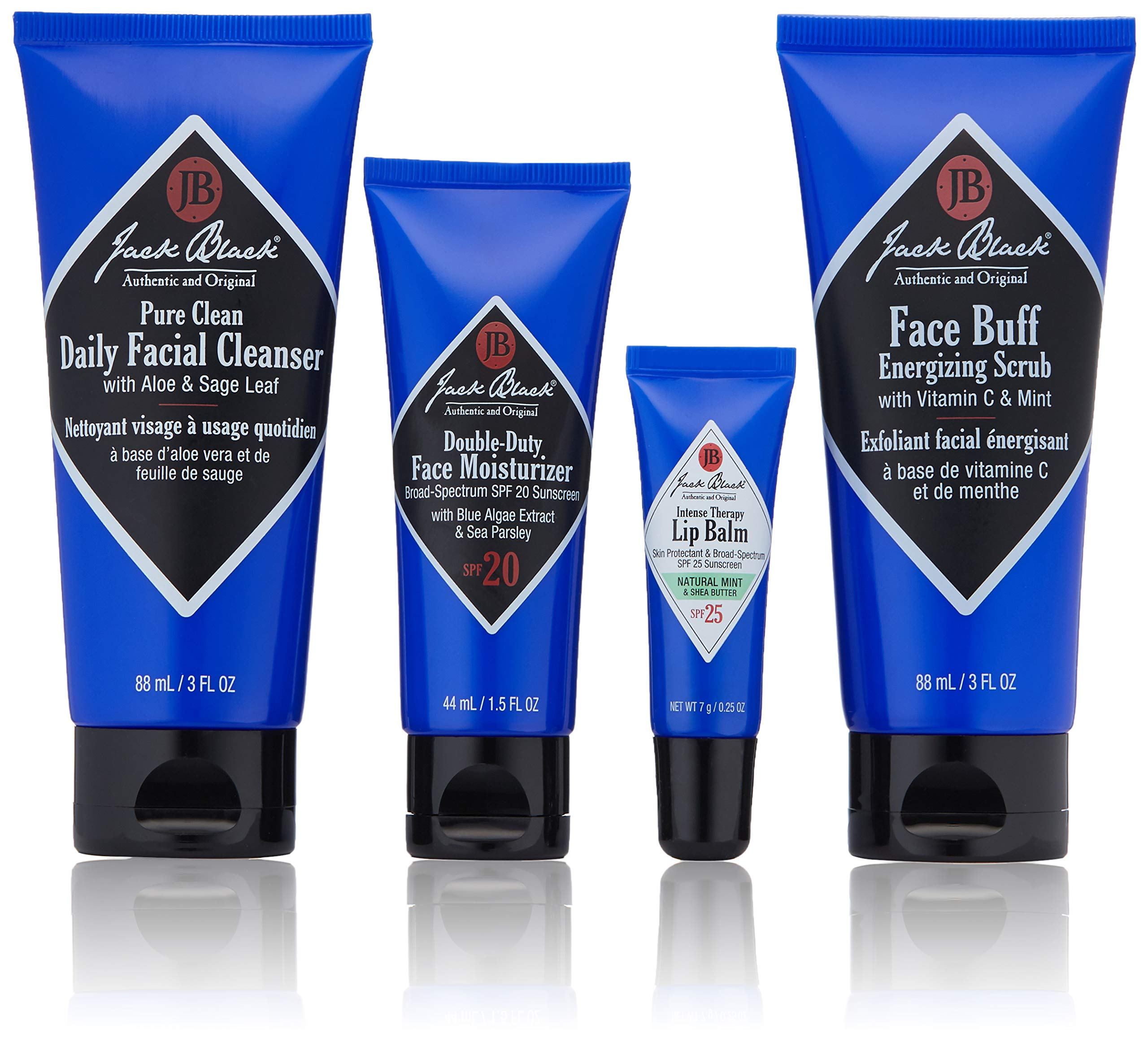 Jack Black - Skin Saviors Set - Pure Clean Daily Facial Cleanser, Face Buff Energizing Scrub, Double Duty Face Moisturizer SPF 20, Intense Therapy Lip Balm SPF 25, 4-Piece Kit by Jack Black