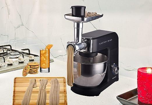 Aifeel - Robot de cocina, carcasa de aluminio fundido a presión, 1500 W, 7 en 1, amasadora, 8 velocidades, batidora de pie, 5,5 litros, color negro: Amazon.es: Hogar