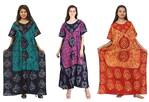 645313662b62e7 Odishabazaar Cotton Caftan/Kaftan Combo 3 Indian Cotton Batik Bohemian Long  Dress (combo-