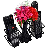 D&V ENGINEERING Metal Unique Flower VASE Remote Holder/Stand/Organizer for TV, AC, DVD, STB, DTH. Remotes (Black)