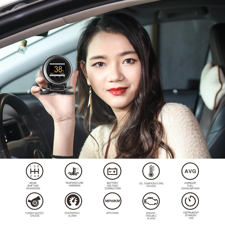 AUTOOL 12V OBD2//OBDII KMH MPH Digital Speedometer HUD Multi Meter Turbo Boost Pressure Meter Overspeed Alarm OBD2 Scanner for 12V Petrol /& Diesel Vehicles