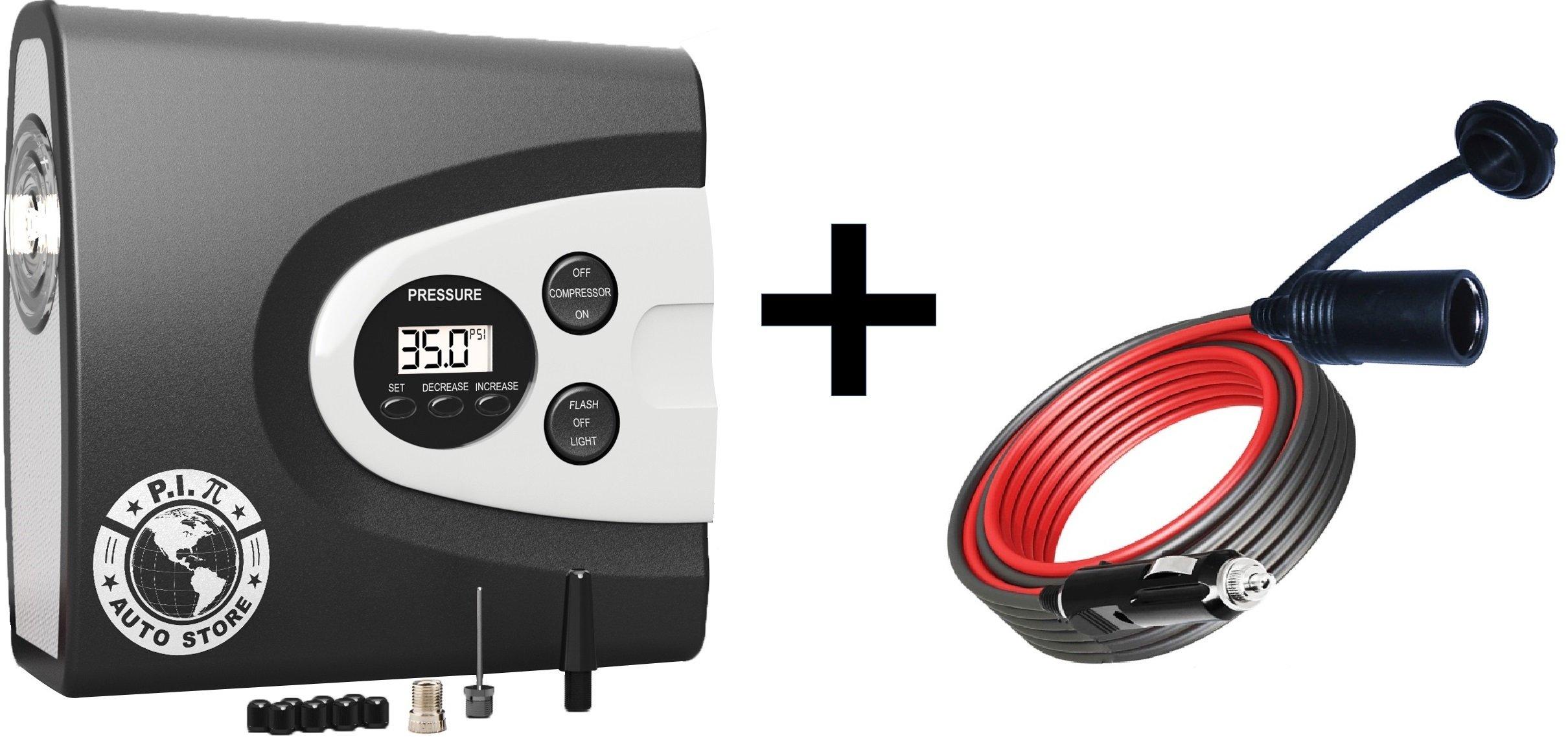 P.I. AUTO STORE Premium 12V 12' Extension Cable Cord Lead for Cigarette Lighter Plug.