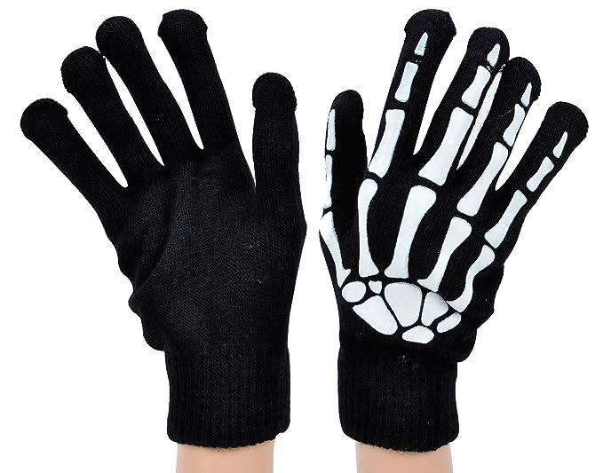 Skeleton Pattern Knit Gloves Full Finger/Fingerless Gloves