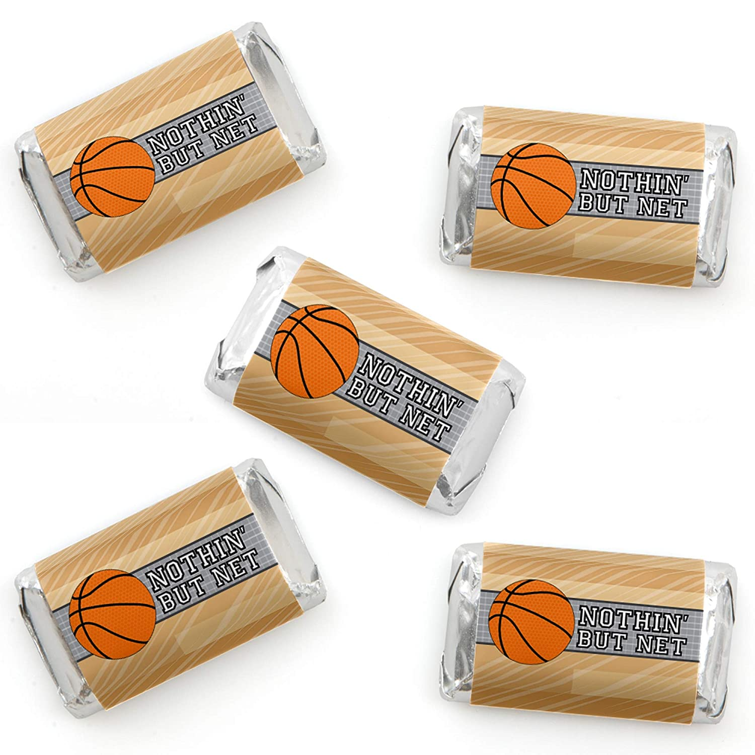 Big Dot of Happiness Nothin' but Net - Basketball - Mini Candy Bar Wrapper Stickers - Baby Shower or Birthday Party Small Favors - 40 Count