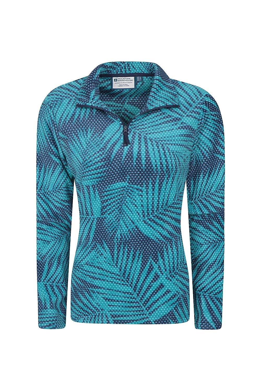 zum Wandern warm leicht Antipill Fr/ühlings-Oberteil atmungsaktiver Sweater kurzer Rei/ßverschluss Mountain Warehouse Devon bedrucktes Damen-Fleece im Fr/ühling