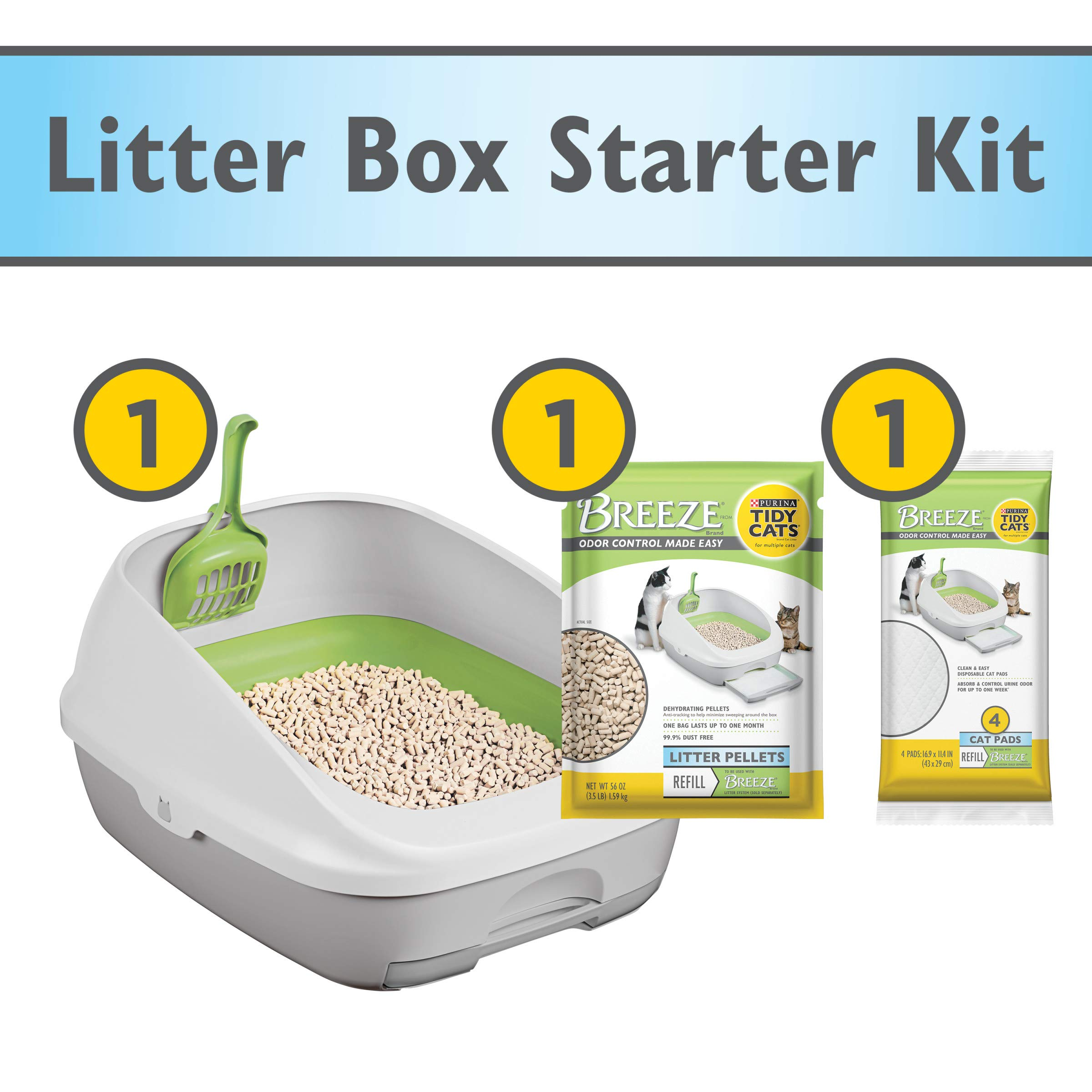 Purina Tidy Cats Litter Box System, BREEZE System Starter Kit Litter Box, Litter Pellets & Pads by Purina Tidy Cats
