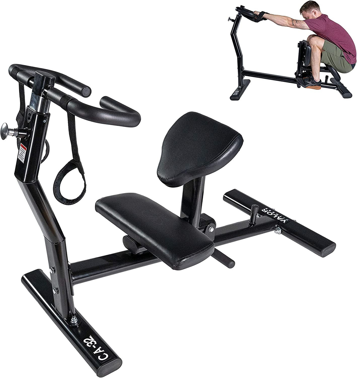 Valor Fitness CA-32 Back Stretcher Machine and Leg Stretch to Reduce Back Pain, Soreness, and Improve Mobility w/Stretch Strap and Adjustable Handles