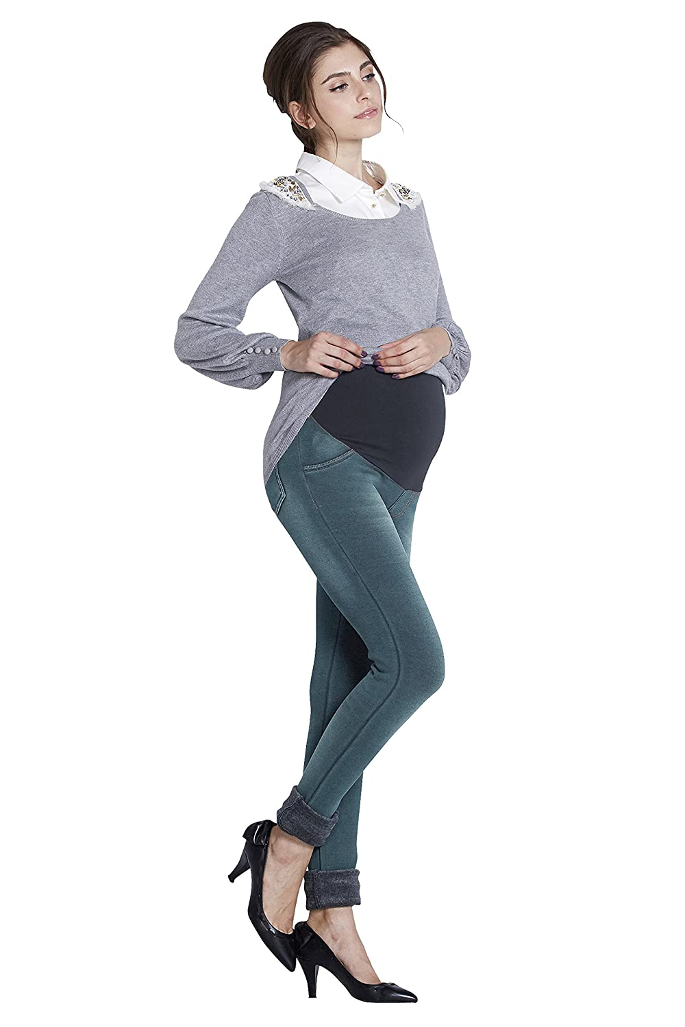 Sweet Mommy Maternity Fleece-Lined Denim Skinny Jeans sp5137