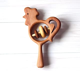 Wooden rooster, Baby rattle, Rattle the cock, the wooden cock, Handmade toy, Eco friendly toy