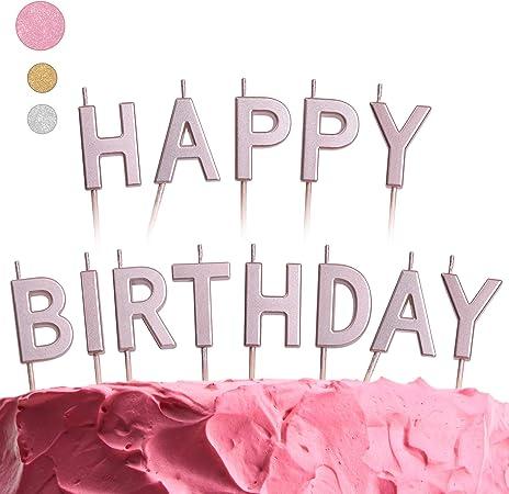 Peachy Amazon Com Get Fresh Pink Happy Birthday Candles Set 13 Count Personalised Birthday Cards Veneteletsinfo