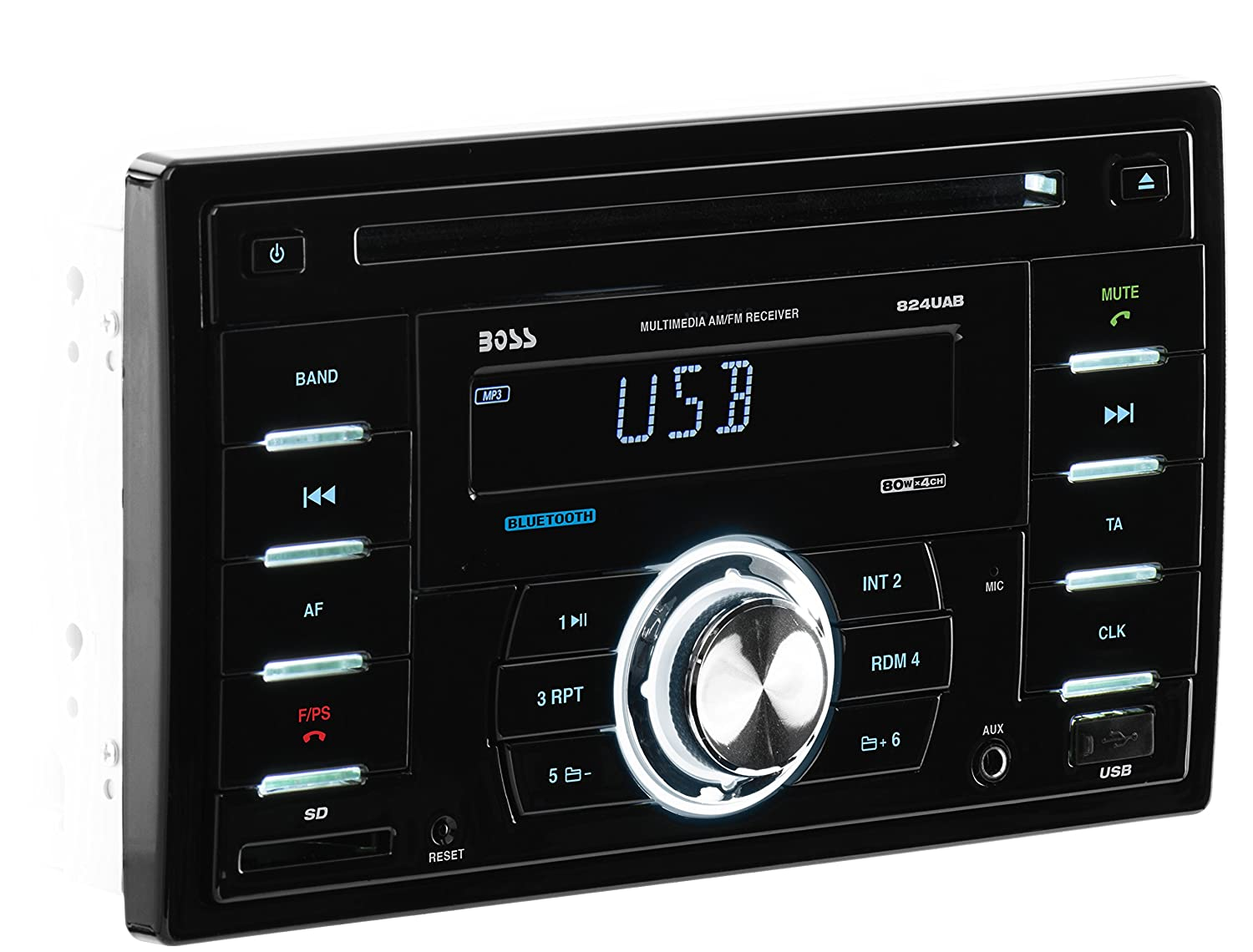 Amazon.com: BOSS AUDIO 824UAB Double-DIN CD/MP3 Player Receiver, Bluetooth,  Wireless Remote: Car Electronics
