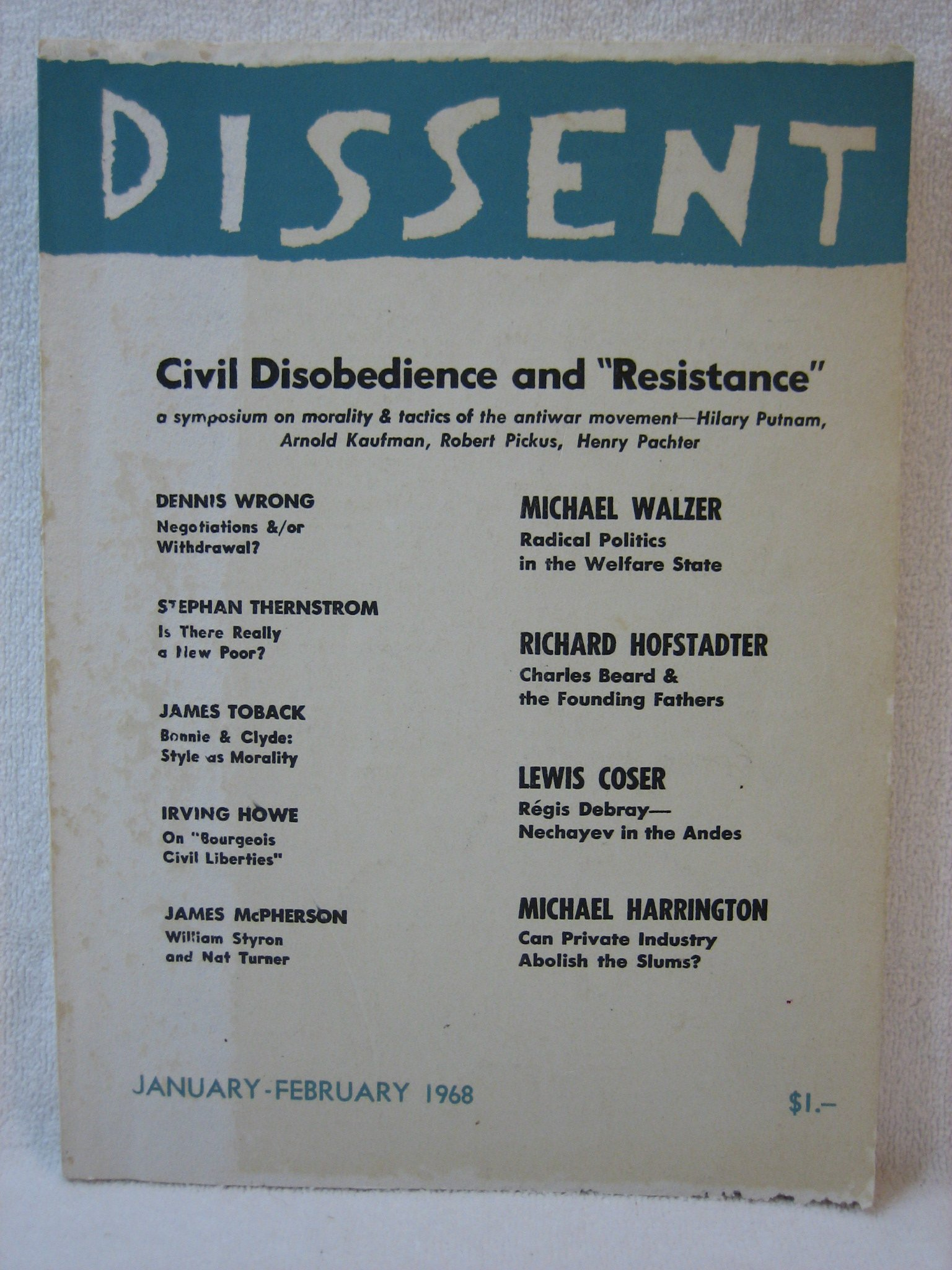 "Dissent Magazine, January-February 1968: Civil Disobedience and ""Resistance"""