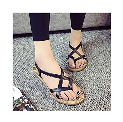 bb172c28afaff9 Fullkang Women Flat Shoes Bandage Bohemia Leisure Sandals Peep-Toe  Fisherman Sandal (US 4.5