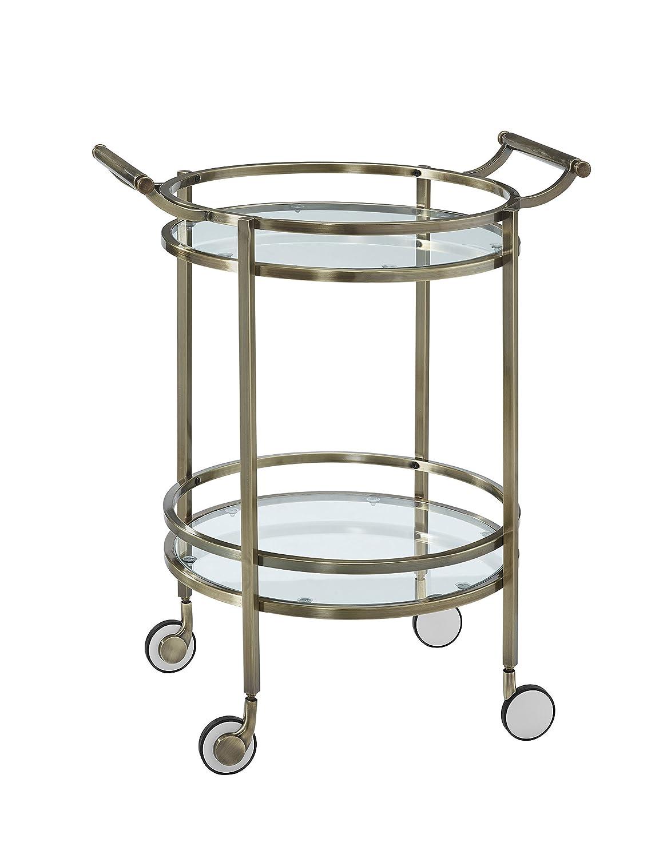 Amazon.com: Powell 13K167 Antique Brass Round Service Cart: Kitchen ...