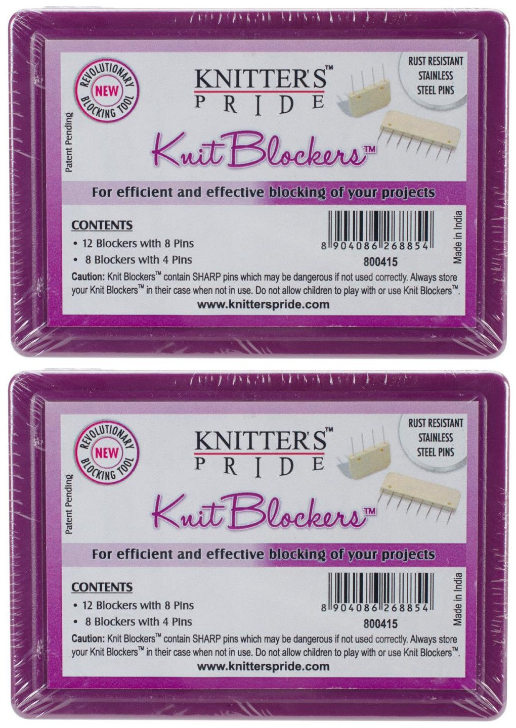 2-Pack Knitters Pride KP800415 Knit Blockers /& Pin Kit