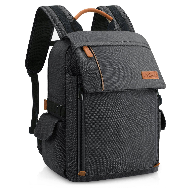 Katteeプロフェッショナルキャンバスカメラバックパック、DSLR SLR写真旅行バッグリュックサックレインカバー付(グレー) B07GN4HK29