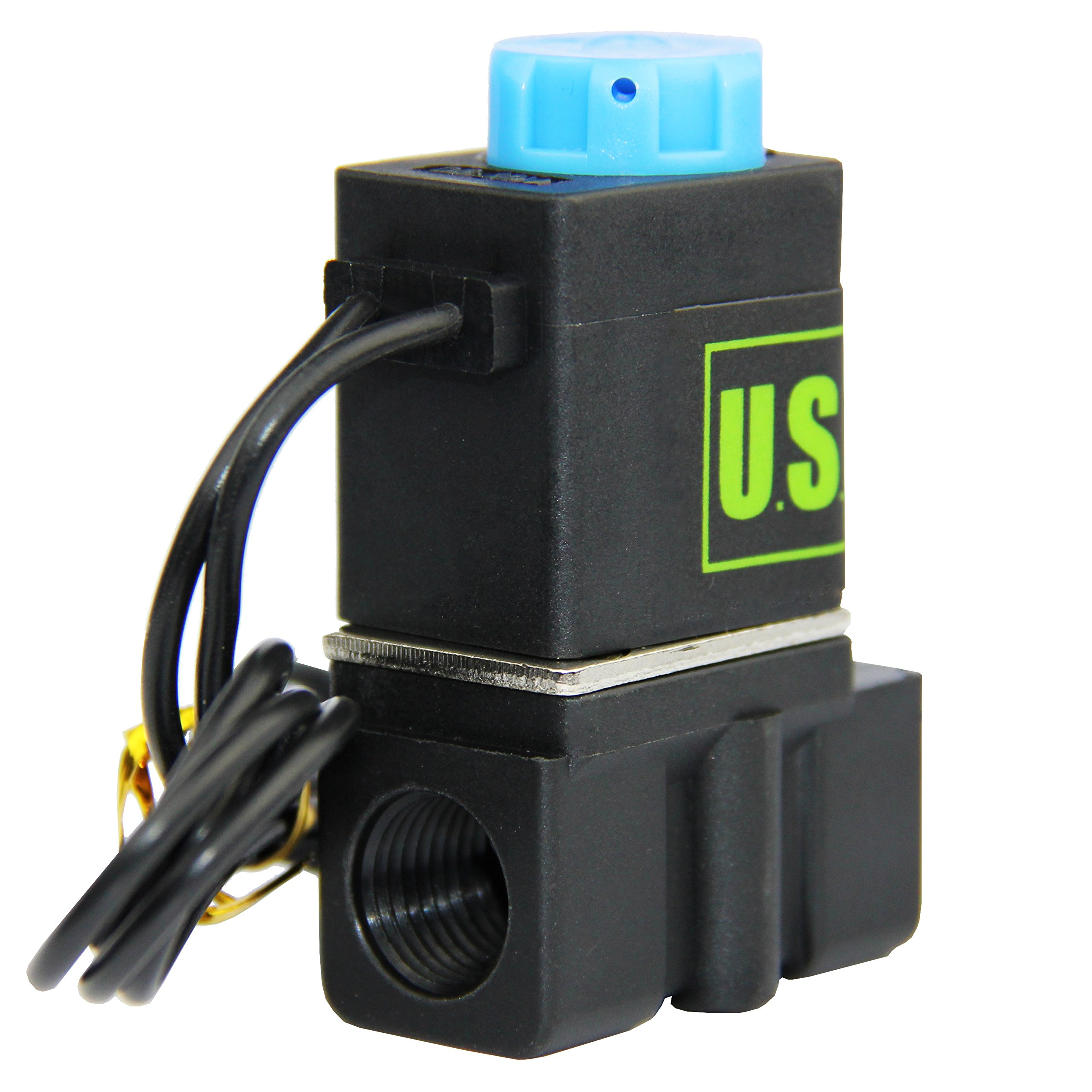 -NEW- Solenoid Valve 1/4'' Normally Closed (N.C.) 12VDC Nylon (NEW Improved Crack-resistant Polymer) Blue Cap by U.S. Solid by U.S. Solid (Image #2)