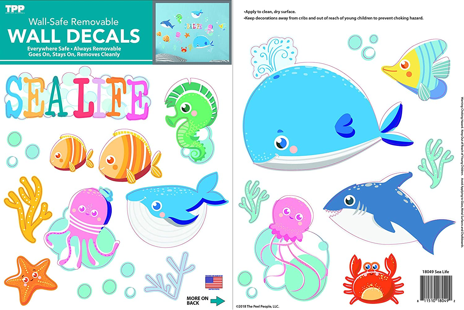 The Peel People Under The Sea Peel and Stick Wall Decals, Ocean Nursery Decor