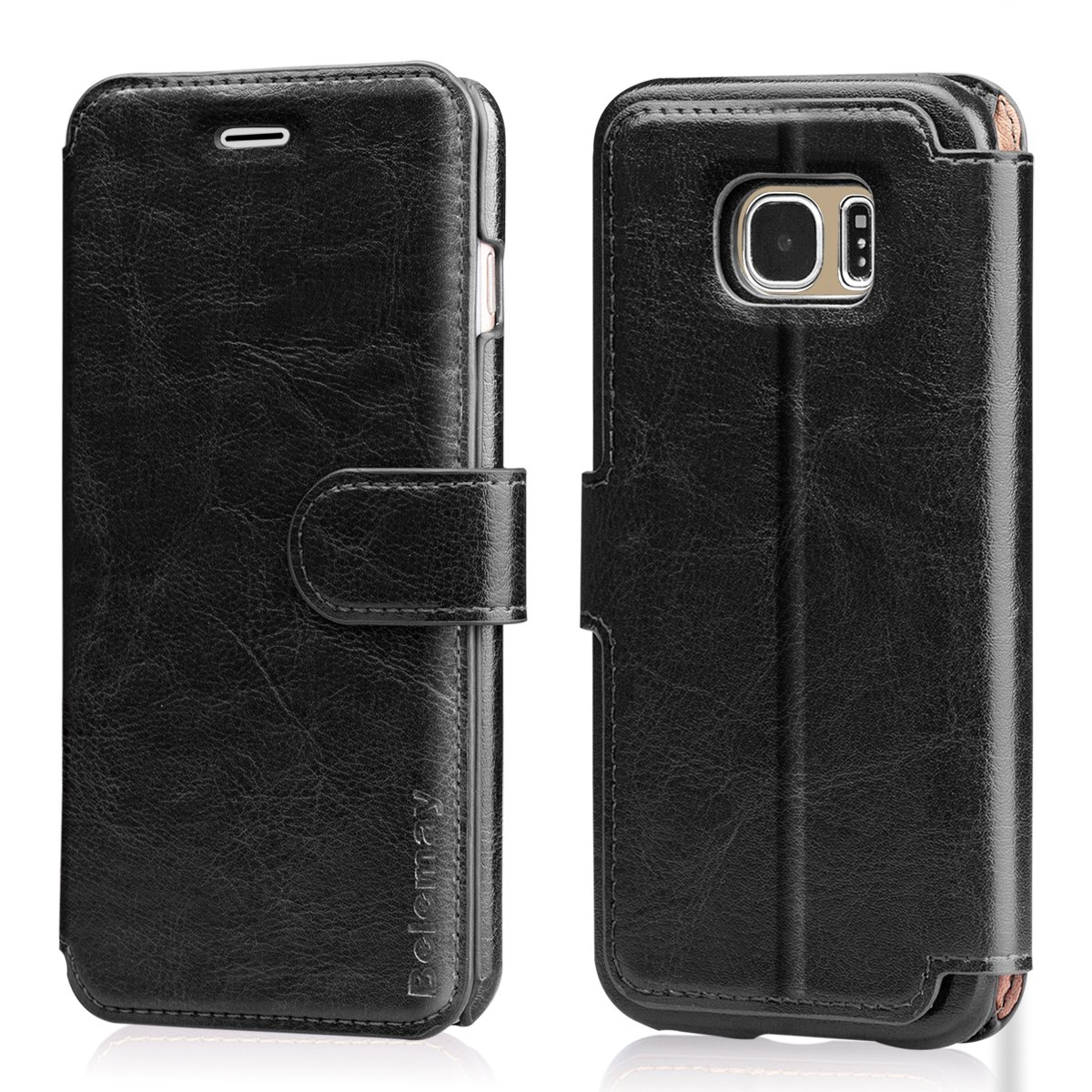 Belemay Samsung Galaxy S9 Case, Genuine Cowhide Leather Wallet Case, Premium Folio Flip Book Cover with Magnetic Closure, Kickstand, Card Holder Slots, Cash Pockets Compatible Samsung Galaxy S9, Black BMUS0107