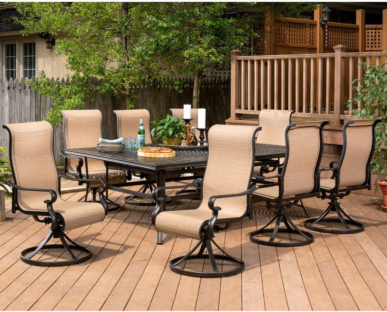 Amazon Com Hanover Brigdn9pcsw8 Brigantine Tan 9 Piece Dining Set Garden Outdoor
