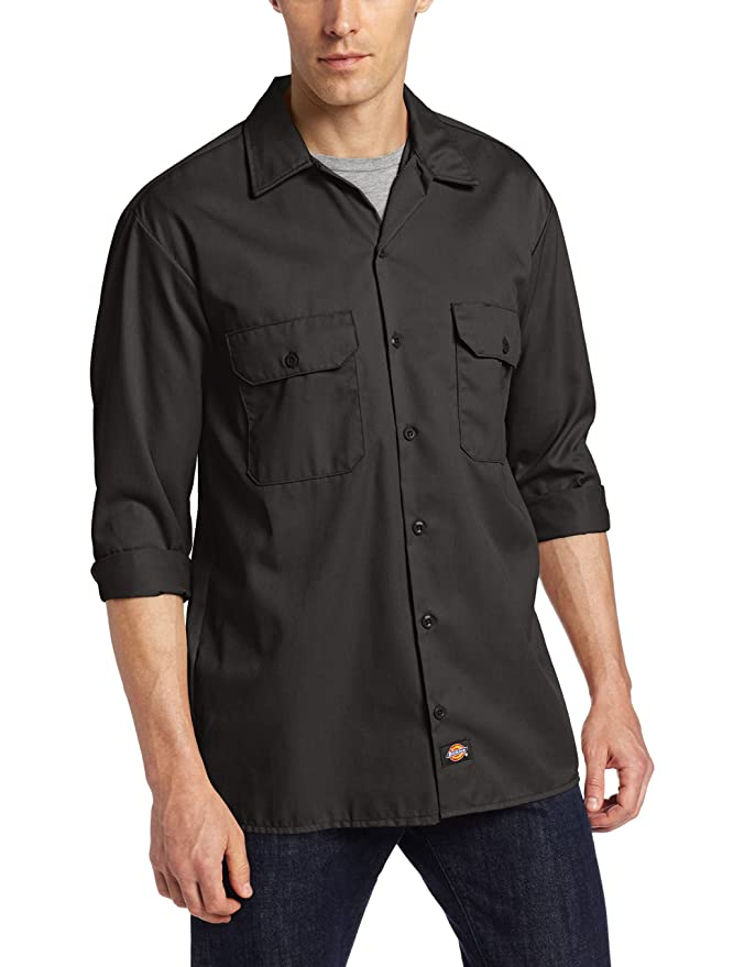 Dickies Men's Long-Sleeve Work Shirt at Amazon Men's Clothing ...