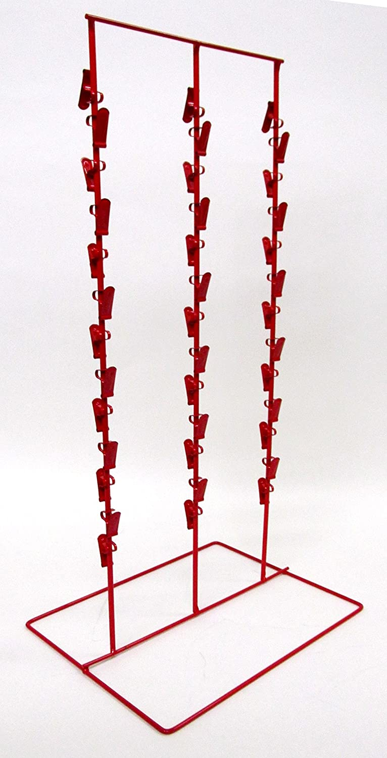 Triple Round Strip 6 Inch Apart 39 Chip Counter Potato Chip Display Rack in Red