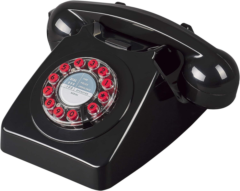 Wild & Wolf 746 Rotary Design Retro Landline Telephone, Black