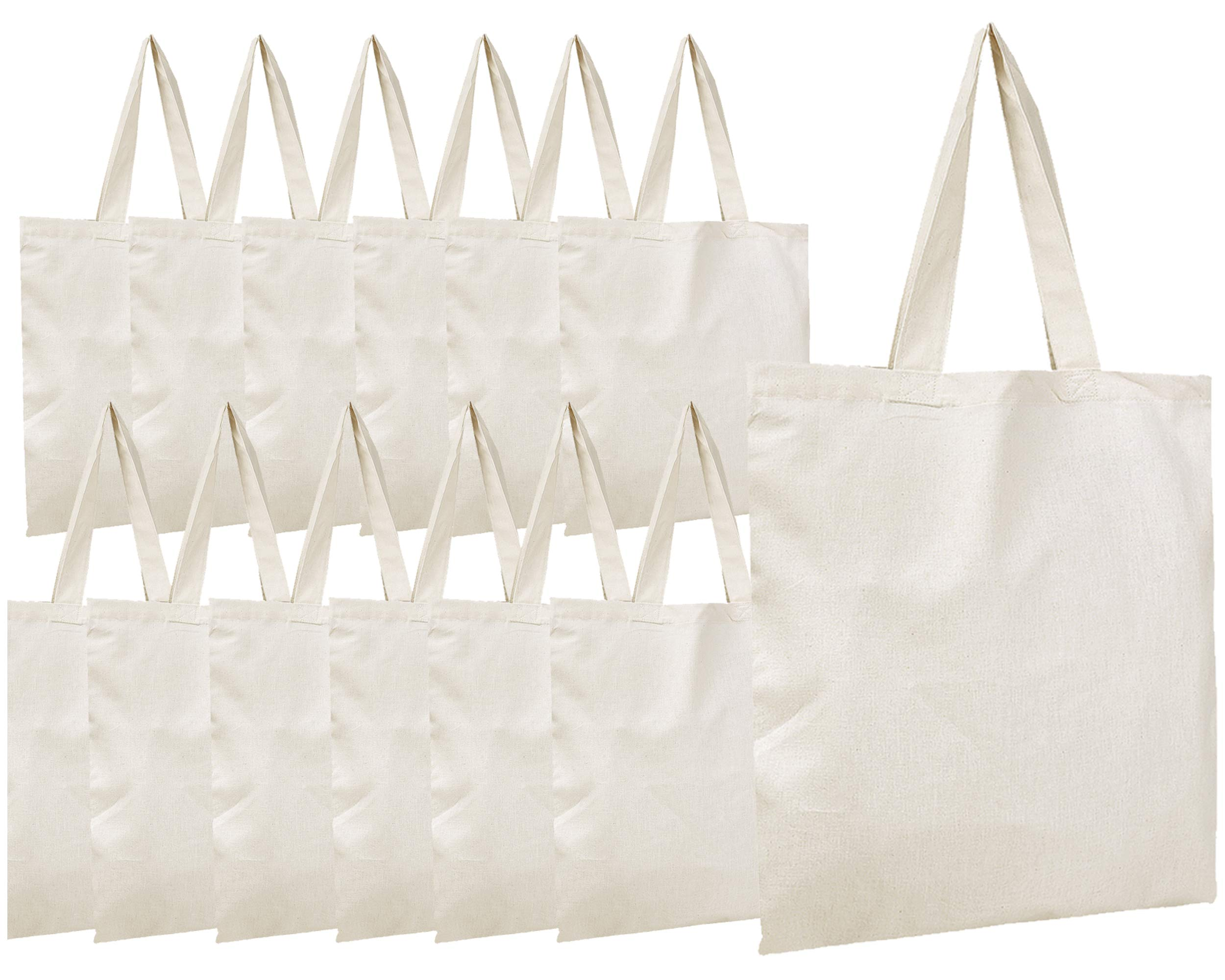20d075adf2f6 Details about BagzDepot Canvas Tote Bags Wholesale - 12 Pack - Plain Cotton  Tote Bags in Bulk,