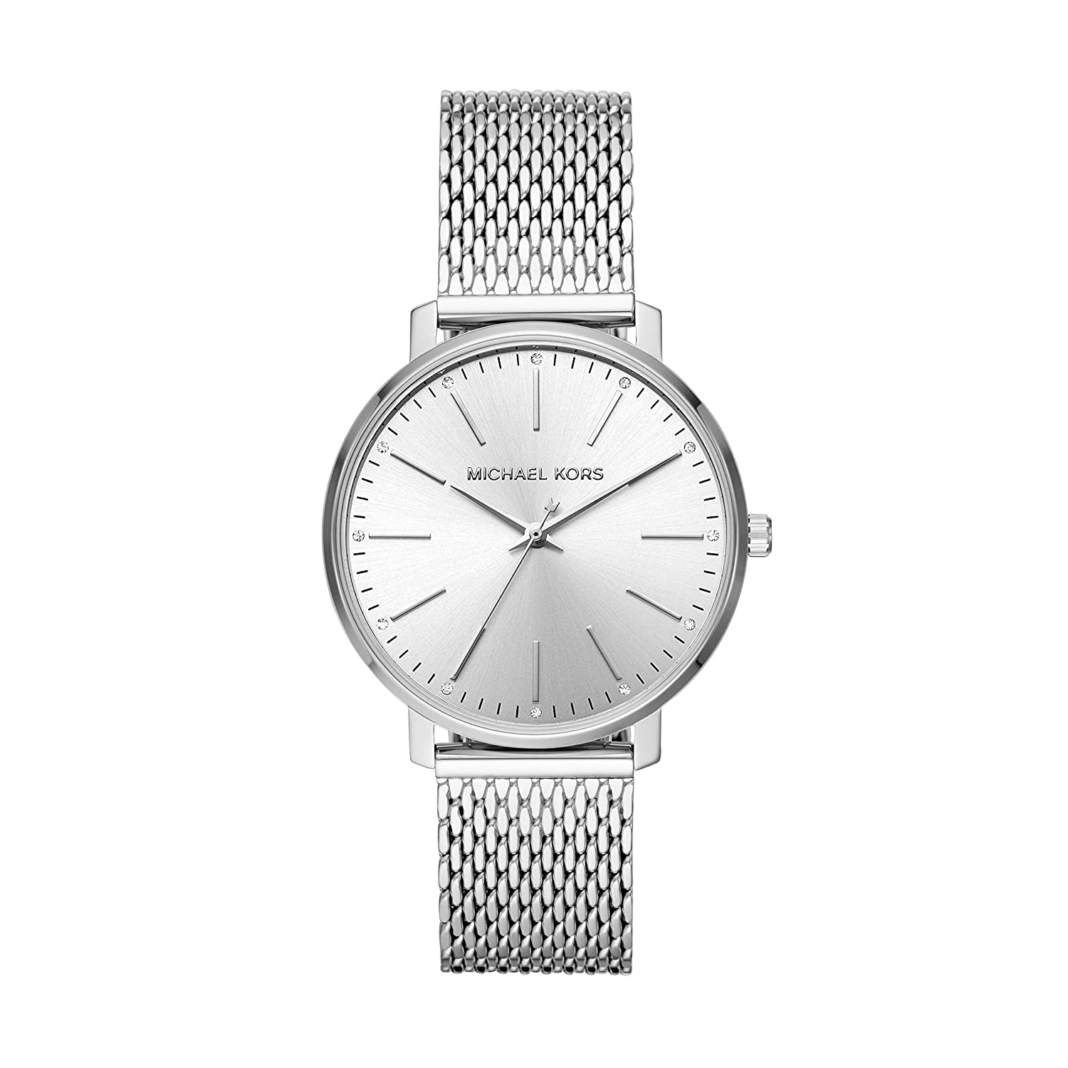 Michael Kors Women s Stainless Steel Quartz Watch with Leather Calfskin Strap