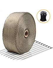 """Exhaust Wrap LIBERRWAY Header Wrap Exhaust Heat Wrap Tap Kit for Car Motorcycle, 2"""" x50Ft with 10 Stainless Ties and Gloves"""