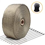 Exhaust Wrap LIBERRWAY Header Wrap Exhaust Heat Wrap Tap Kit for Car Motorcycle, 2' x50Ft with 10 Stainless Ties and…