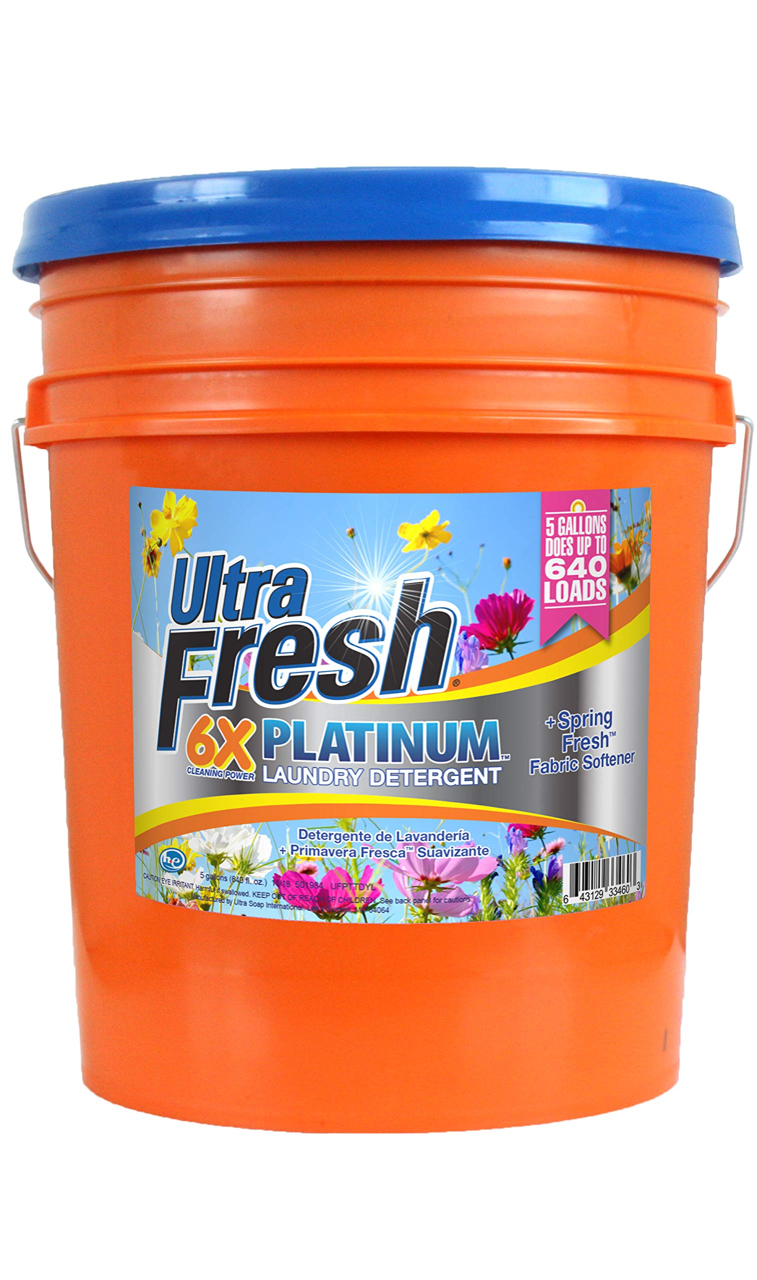 Ultra Fresh Platinum Original Blue Plus Fabric Softener HE Liquid Laundry Detergent. Concentrated; Does Up to 640 Loads. Compares to Well Known Name Brand. 5 Gallons (640 oz