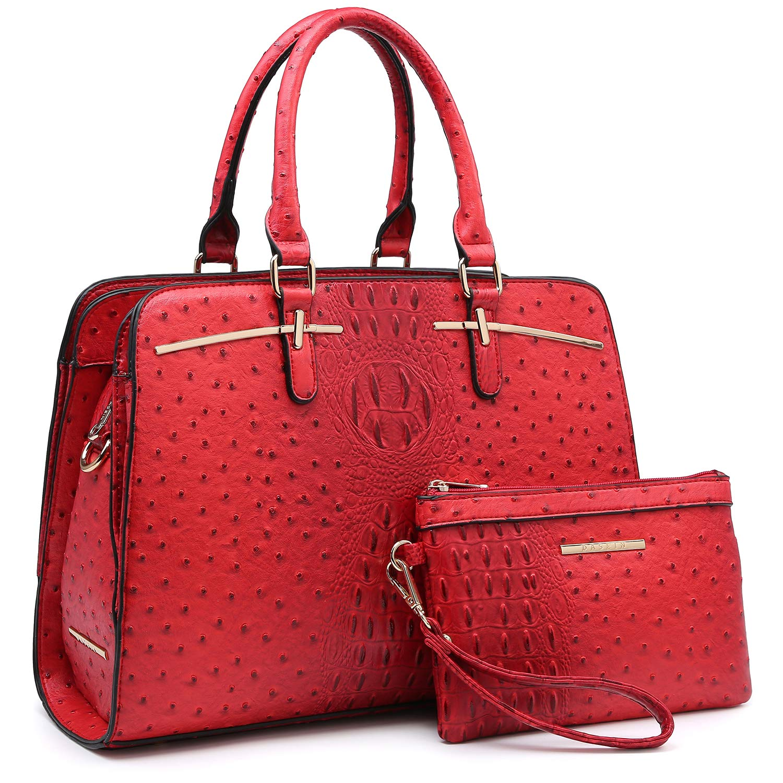 01 Ostrich Red Women Handbag Fashion Satchel Multi Pockets Purse 2 Pieces Set Triple Compartment Shoulder Bag Faux Leather