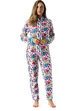 Just Love Printed Flannel Adult Onesie/Pajamas, Animal Heart, X-Small