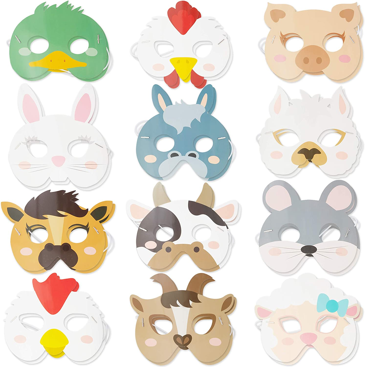 Farm Animal Party Masks for Kids Birthday and Dress Up (24 Pack)