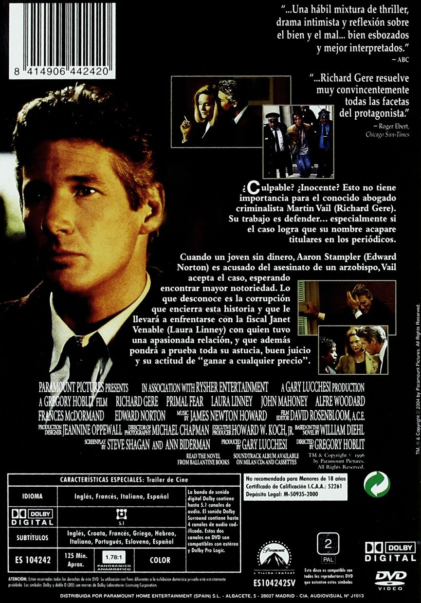 Las Dos Caras De La Verdad Dvd Amazon Es Richard Gere Edward Norton Laura Linney Gregory Hoblit Richard Gere Edward Norton Cine Y Series Tv