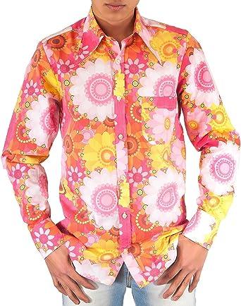 Camisa rosa de flores, de estilo setentero: Amazon.es: Ropa y accesorios