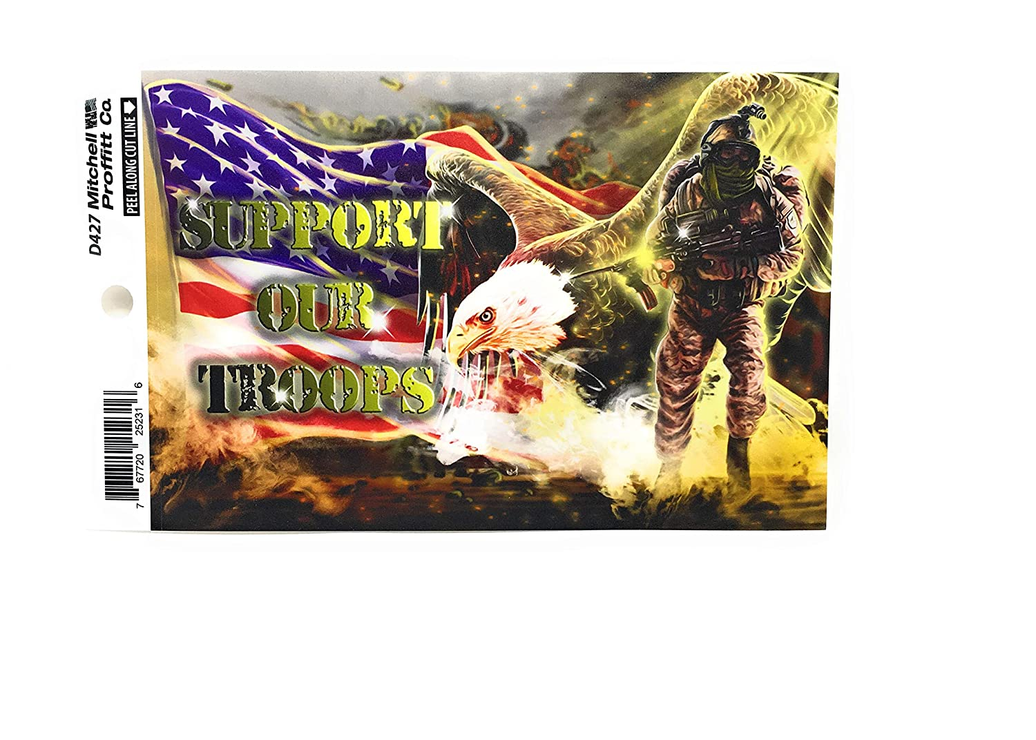Bald Eagle and American Soldier in Full Combat Gear Mitchell Proffitt Support Our Troops Sticker-4x6 Inches Support Our Troops Decal with Waving American Flag