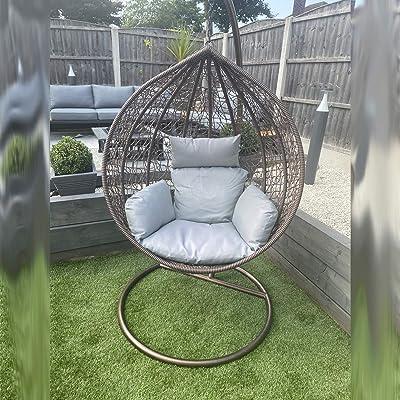 CGC Brown Hand Weaved Rattan Rust Proof Egg Swing Chair Large Grey Luxury Cushion Round Shape Outdoor Garden