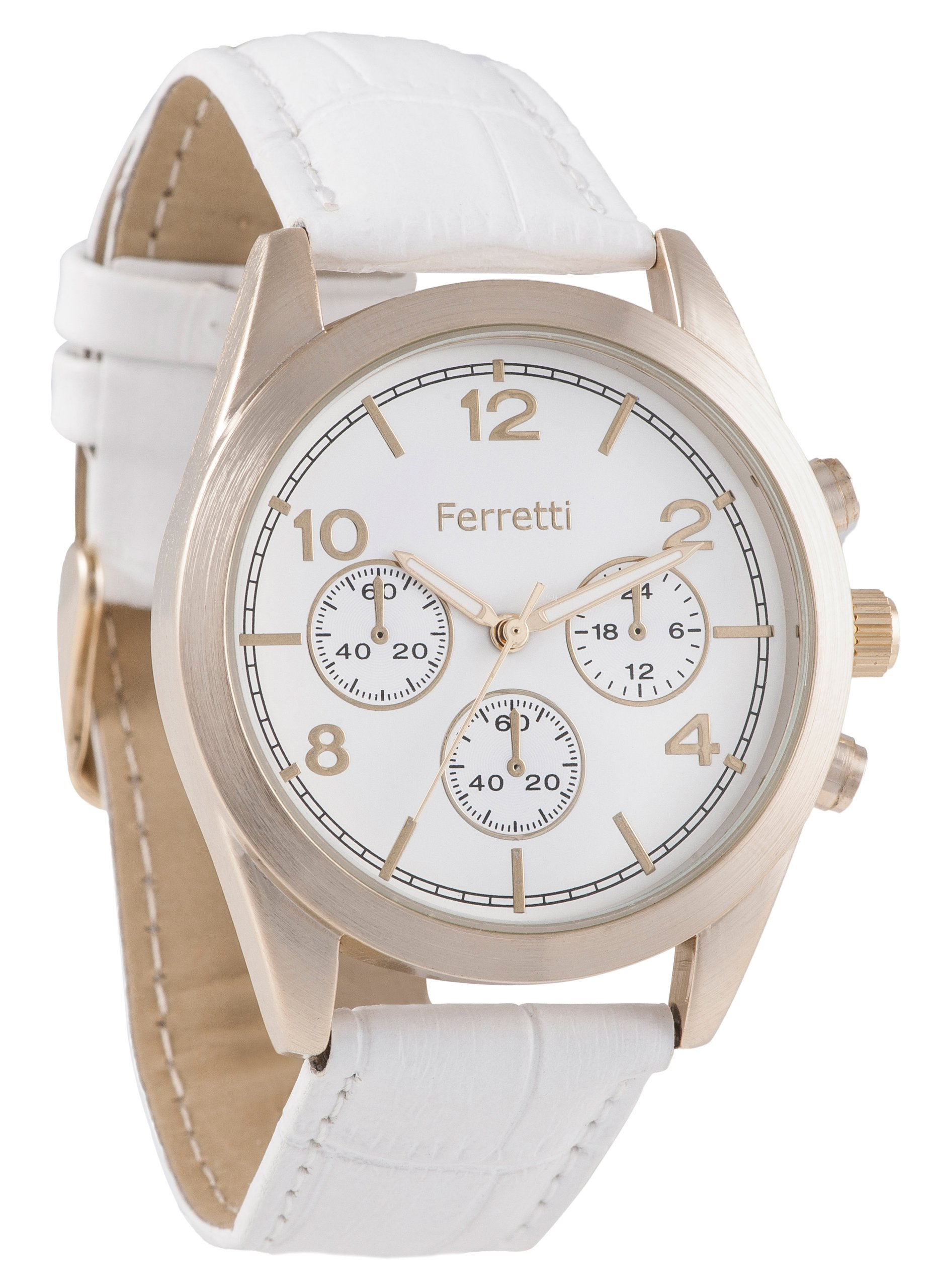 Ferretti Women's | White Genuine Leather Band with Crocodile Pattern Watch | FT11001