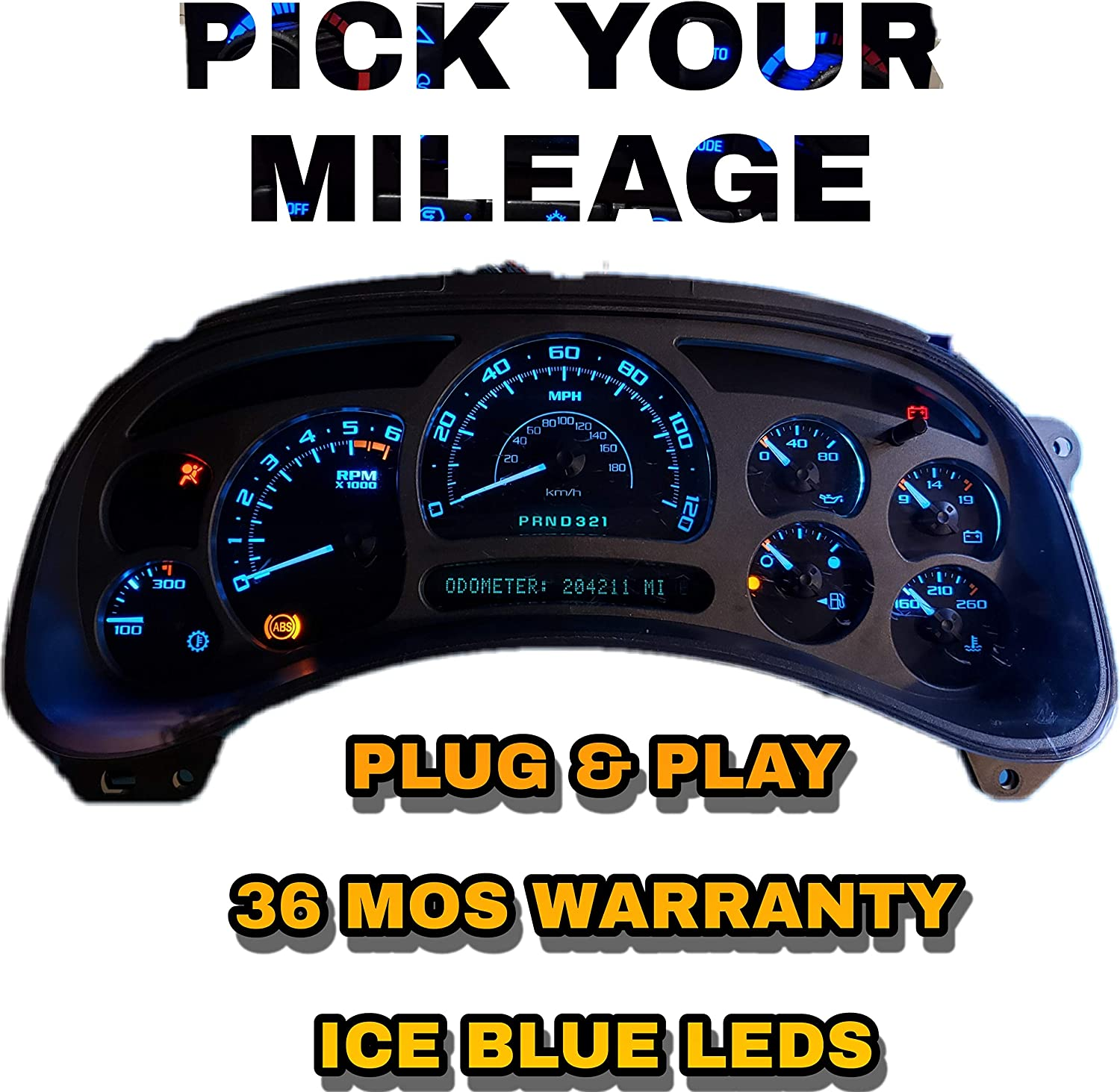 Fully Refurbished 03 04 05 06 Escalade Cluster Speedometer Ice Blue Plug /& Play Pick Mileage
