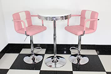 Just Americana.com American 50s Diner Furniture Retro Style Bistro Table 2  Pink Stools