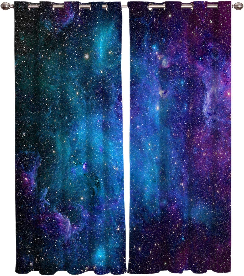 Curtains 40 inch Wide by 63 inch Length for Living Room Bedroom, Blackout Room Darkening Galaxy Stars Universe Planet Nebula Starry Sky Window Curtain Thermal Insulated with Grommet Drapes, 2 Panels