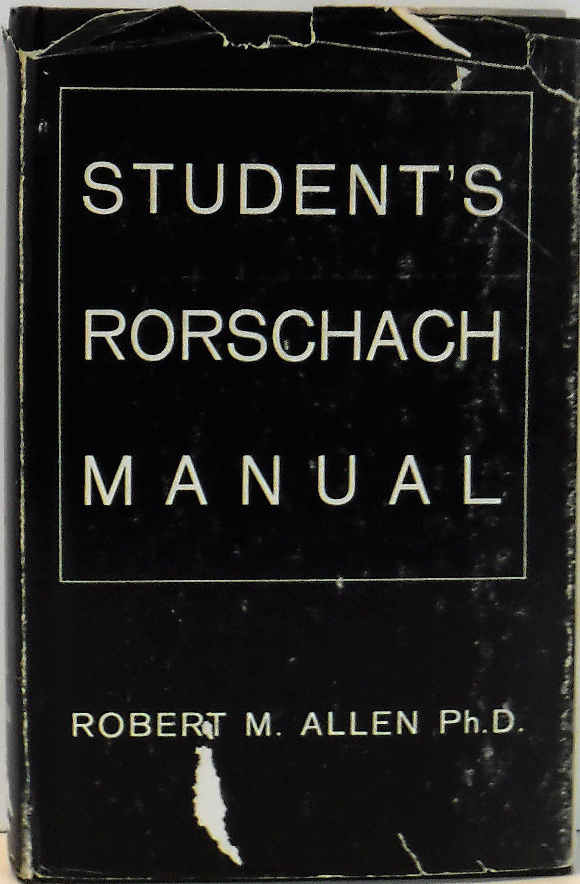 student s rorschach manual robert m allen amazon com books rh amazon com Original Rorschach Test Plates Rorschach Test Printable