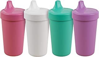 product image for Re-Play Made in The USA 4pk No Spill Cups for Baby, Toddler, and Child Feeding in Purple, Bright Pink, Aqua and White | Made from Eco Friendly Heavyweight Recycled Milk Jugs | (Sparkle+)