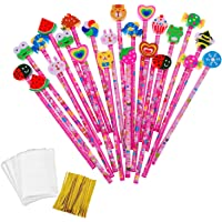 JZK 24 x Pink Wooden Graphite Pencils Set with Cartoon Rubber erasers for Kids Children Party Favours give Away Thank You Gift Party Bag Filler Birthday for Girls